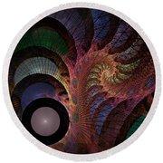 Round Beach Towel featuring the digital art Freefall - Fractal Art by NirvanaBlues