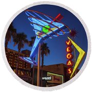 Round Beach Towel featuring the photograph Freemont East District Neon Signs From The West At Dawn Wide by Aloha Art