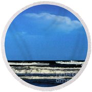 Round Beach Towel featuring the digital art Freeport Texas Seascape Digital Painting A51517 by Mas Art Studio