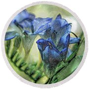 Round Beach Towel featuring the photograph Freesia Carved In Blue by Lance Sheridan-Peel