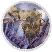 Round Beach Towel featuring the photograph Freesia Carved One by Lance Sheridan-Peel