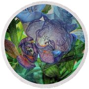 Round Beach Towel featuring the photograph Freesia Multi Coloured by Lance Sheridan-Peel