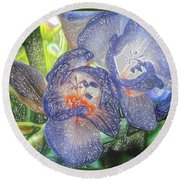 Round Beach Towel featuring the photograph Freesia's In Bloom by Lance Sheridan-Peel