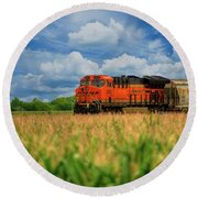 Freight Train Round Beach Towel by Kelly Wade