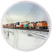 Freight Train Round Beach Towel by Todd Klassy
