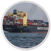 Freighter Headed Out To Sea Round Beach Towel