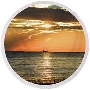 Freighter In The Sunset Round Beach Towel