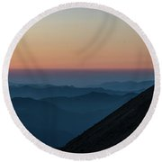 Fremont Lookout Sunset Layers Pano Round Beach Towel by Mike Reid