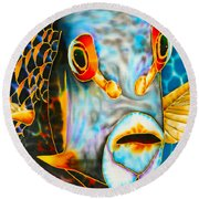 French Angelfish Face Round Beach Towel