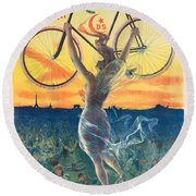 French Art Nouveau Poster For Deesse Bicycles, Circa 1898 Round Beach Towel