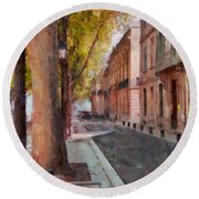 Round Beach Towel featuring the photograph French Boulevard by Scott Carruthers