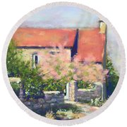 Round Beach Towel featuring the pastel French Cottage by Rebecca Matthews