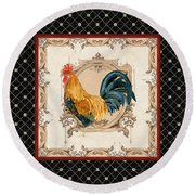 French Country Roosters Quartet 4 Round Beach Towel