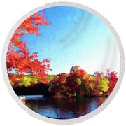 French Creek Fall 020 Round Beach Towel