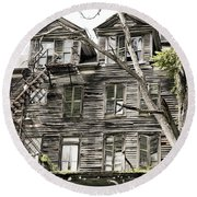 Round Beach Towel featuring the photograph French Doors And Fire Escapes by Carol Lynn Coronios