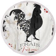 French Farm Sign Rooster Round Beach Towel