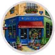 French Flower Shop Round Beach Towel