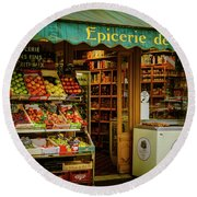 French Groceries Round Beach Towel
