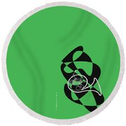 French Horn In Green Round Beach Towel