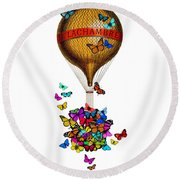 French Hot Air Balloon With Rainbow Butterflies Basket Round Beach Towel