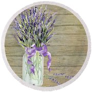 French Lavender Rustic Country Mason Jar Bouquet On Wooden Fence Round Beach Towel