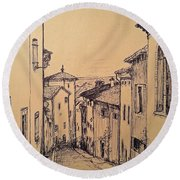 French Little Town Drawing Round Beach Towel