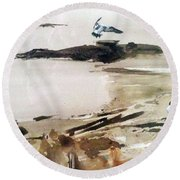 Round Beach Towel featuring the painting French Lake by Ed Heaton