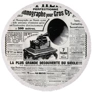French Phonograph Advert, 1903 Round Beach Towel