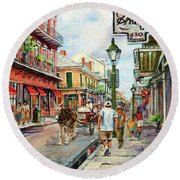French Quarter Antiques Round Beach Towel