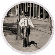 Round Beach Towel featuring the photograph French Quarter As It Once Was by KG Thienemann