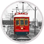 French Quarter French Market Cable Car New Orleans Color Splash Black And White With Film Grain Round Beach Towel by Shawn O'Brien