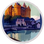 French Railway, Excursion To Brittany, Castle, Travel Poster Round Beach Towel