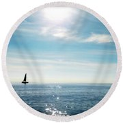 Round Beach Towel featuring the photograph French Riviera Waters by Katie Wing Vigil