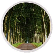 French Tree Lined Country Lane Round Beach Towel