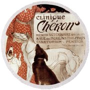 French Veterinary Clinic Round Beach Towel