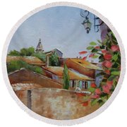 Round Beach Towel featuring the painting French Village by Chris Hobel