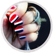 Frenchy Nails Round Beach Towel