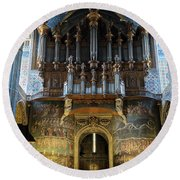 Fresco Of The Last Judgement And Organ In Albi Cathedral Round Beach Towel by RicardMN Photography