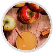 Fresh Apple Cider With Cinnamon Sticks And Apples Round Beach Towel