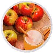 Fresh Apple Juice With Cinnamon Round Beach Towel