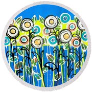 Fresh Blue Flowers Round Beach Towel