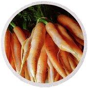 Fresh Carrots From The Summer Garden Round Beach Towel by GoodMood Art