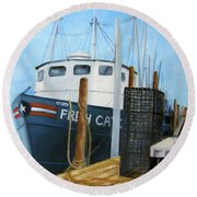 Fresh Catch Fishing Boat Round Beach Towel