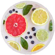 Fresh Citrus Fruits Round Beach Towel