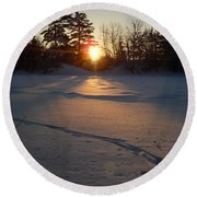 Fresh Deer Tracks At Sunrise Round Beach Towel by Kent Lorentzen