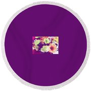 Fresh Flowers Round Beach Towel
