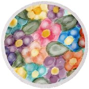 Round Beach Towel featuring the digital art Fresh Flowers by Paula Brown