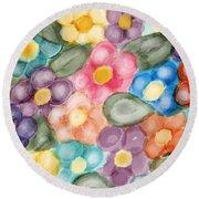 Fresh Flowers Round Beach Towel by Paula Brown