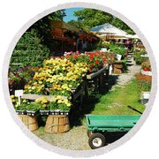 Round Beach Towel featuring the photograph Fresh From The Farm by James Kirkikis
