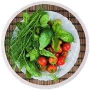 Round Beach Towel featuring the photograph Fresh Garden Vegetables by Elena Elisseeva
